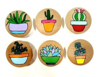 Custom Succulent Drawer Knob, Succulent and Cactus Drawer Knob, Cactus Drawer Pull