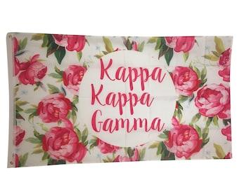 Kappa Kappa Gamma KKG White Rose Floral Flag 3' x 5' kkg