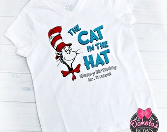 Cat in the Hat Birthday Shirt Dr. Seuss Birthday shirt, Dr. Seuss' Birthday, Dr. Seuss shirt, Happy Birthday Dr. Seuss, Dr. Suess day