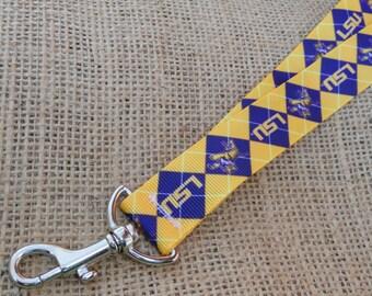 Louisiana State University (LSU) Inspired Ribbon Lanyard with Swivel Clasp - LSU Tigers I.D. Badge Holder - Purple and Gold lanyard