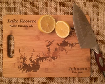 Custom Lake Art Cutting Board