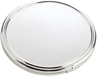 Kristin Oval Compact Mirror - Personalized Silvertone Oval Compact Mirror - One of Our TOP Bridesmaids Gifts