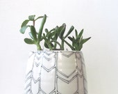 Large Black and White Chevron Planter. Modern. Graphic. Home decor. Handmade porcelain ceramic planter. Drain hole. MADE TO ORDER.