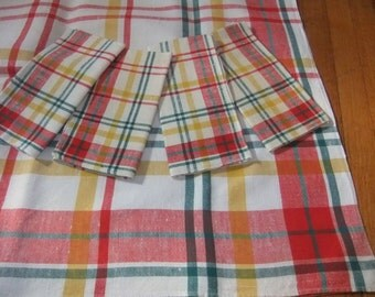 Vintage Swedish Linen Tablecloth with Four Napkins, Festive White, Red, Green, and Yellow Plaid