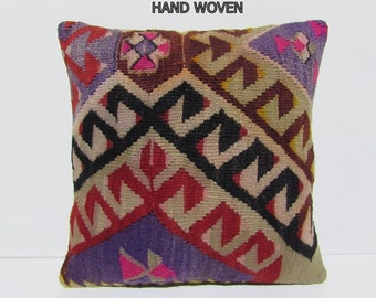 kilim pillow chair pads 18x18 DECOLIC couch pillow dining chair cushion outdoor cushion cover vintage rug pillow decorative pillow pad C507