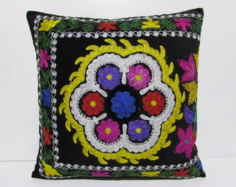 "24x24"" boho SUZANI PILLOW suzani bedding suzani sofa pillow suzani throw blanket vintage suzani fabric suzani pillow case suzani quilt S1012"