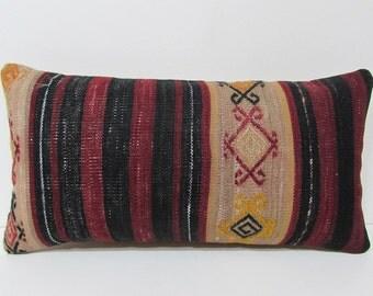decorative pillow turkish fabric lumbar pillow sham interior design ethnic throw pillow throw pillow kilim big pillow red kilim pillow 23022