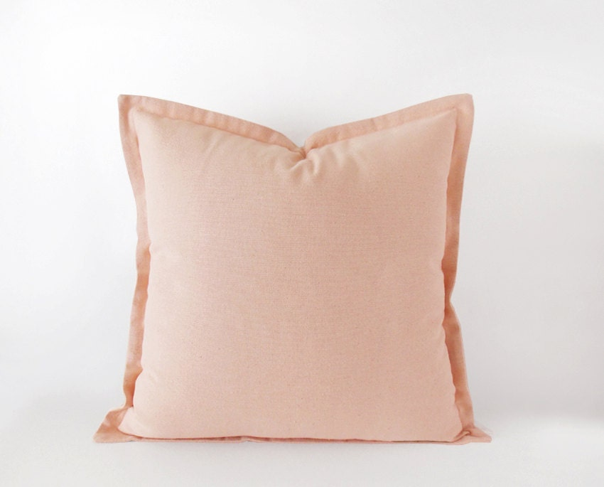 Light pink decorative pillow cover with a flange 16x16