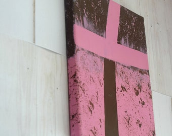 Cross Wall Decor as Canvas Art With Pink and Brown 8 x 10
