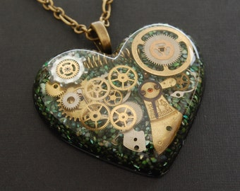 Steampunk Heart Pendant / Necklace, Watch Parts in Resin, Green Shell, Bronze Chain