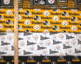 Pittsburgh Steelers NFL Logo Black & Yellow Cotton Fabric by Fabric Traditions! [Choose Your Cut Size]
