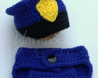 Police Officer Newborn Infant Baby Crochet Cop Diaper Cover Hat Beanie Police Man Photo Prop Set for Boy or Girl with Handcuffs