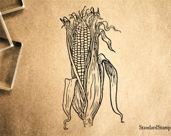 Corn Husk Rubber Stamp - 2 x 3 inches