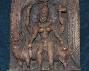 old intracate HINDU solid wood carving SHIVA and Tiger  wall hanging