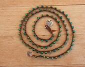 Beachy Crochet Necklace/4 Wrap Bracelet , Jewel Green  Bohemian Jewelry