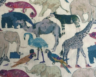 QUEUE For The ZOO  ( G ) 1.00 METRE by liberty on tana lawn cotton   1m x 136 cms  or 40''x 54''