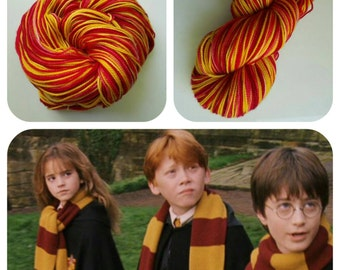 """HARRY POTTER Inspired """"Gryffindor"""" on Super Sock. 400 Yards. Ready to Ship."""