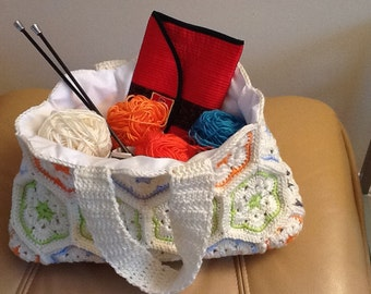 Crochet lined craft bag