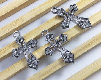 10 pcs Rhodium Cross  Charms, Cross Pendants ,Cross  Jewelry