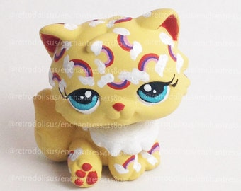 Custom Littlest Pet Shop Toy Rainbow Cat LPS