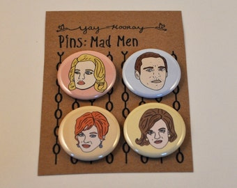 Mad Men Cast, pin button badges, magnets hand drawn illustrations, Don Draper, Betty Draper, Peggy, and Joan