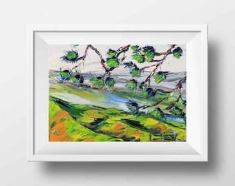 Norcal Print, California Art, San Francisco Bay, California Landscape, Palette Knife, Mountain Print, Tree Art, Pine Trees, Wall Art Print