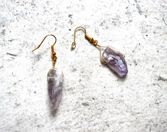 raw amethyst drop earrings