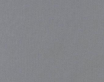 "Gray Kona Solid Fabric ""Steel"" by Robert Kaufman. 100% cotton. Kona Cotton. Dark Grey Solid Fabric. K001-91"