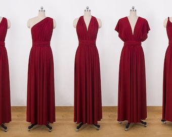 Burgundy Maxi Infinity Dress, Convertible Bridesmaid Dress, cheap prom dress, Evening Dress,Multiway Dress, Wrap Dress, formal Dress
