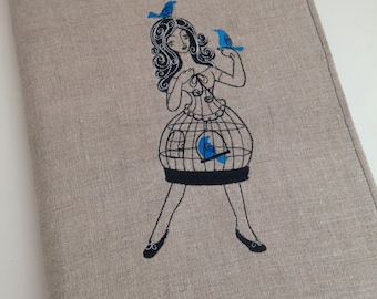 Birds in a Dressform Cage Embroidered Covered Journal-Linen-Notebook Included-Refillable-Black-Blue