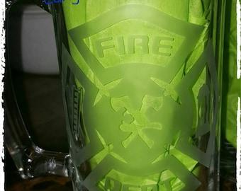 Etched Fire Fighter 25 oz Beer Mug, Beer mug, personalized Beer mug, 25 oz beer mug