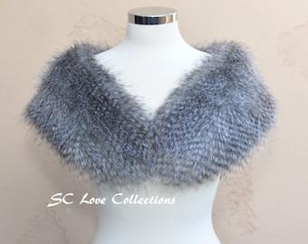 Silver Racoon Faux Fur Scarf  Luxurious Fashion Furry Shawl Stole Wrap Sheepskin Made in USA Wedding Bridesmaid Scarfs