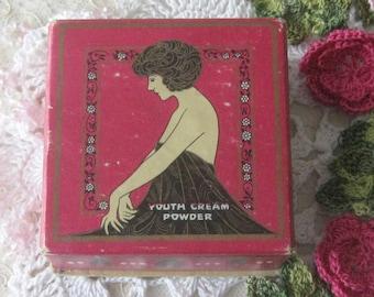 Art Deco Era Vintage Face Powder Box - Youth Cream Powder - Full Face Powder Contents