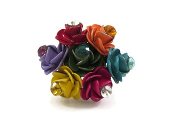 Colorful Rose Bouquet Adjustable Ring with Rhinestone Accents