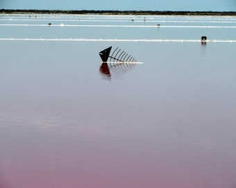 Photography print : blue & pink seascape, salt flats, Gruissan, France photography, Mediterranean decor, nautical decor, nautical print.