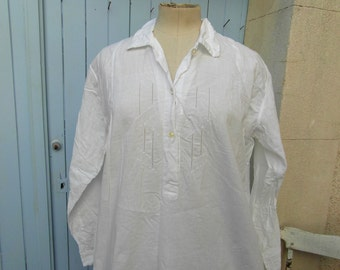 Cotton night shirt, large, embroidery on the front, cotton shirt dress, French vintage, vintage clothing, retro clothes, French night shirt.