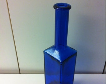 Collectible Square Cobalt Blue Glass Bottle. Cobalt Blue Glass Vase Decanter