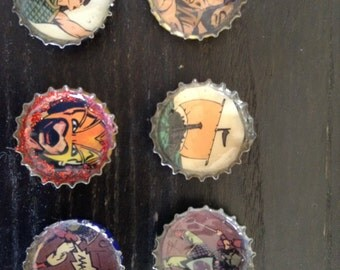 Artsy Bottle Caps, Small Art Buttons, Craft Misc.
