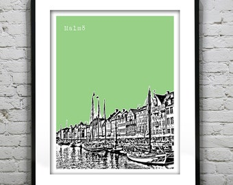 1 Day Only Sale 10% Off - Malmo Sweden Skyline Poster Art Print version 1