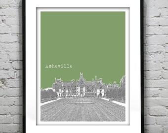 Asheville North Carolina City Skyline Poster Art Print NC Version 4 Biltmore