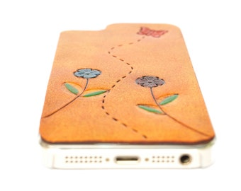 Leather iPhone SE Case - Butterfly & Flowers Leather { } Leather iPhone 5s Case / Leather iPhone 5 Case