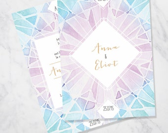 Watercolour geometric triangles wedding invitation SAMPLE