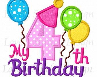 My 4th Birthday Applique Machine Embroidery Design NO:0326