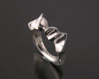 Sterling Silver Stylized Bat Ring