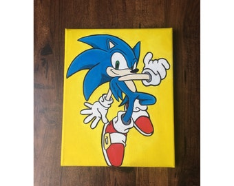 Sonic The Hedgehog -  Hand Painted Painting