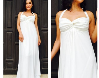 White Halter long maxi beach sun dress all size