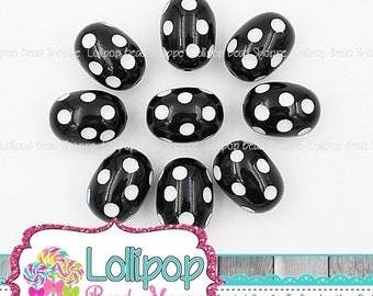 SALE 19mm x 27mm Oval BLACK Polka DOT Beads White Dot Bubblegum Beads Chunky Beads Chunky Necklace Beads Minnie Mickey Plastic Bubble Gum Be