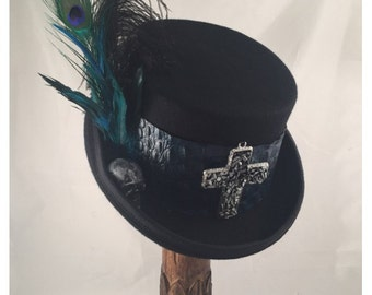 DAY of the DEAD HATS, Steampunk Shop, Top Hats, Black Felt Top Hat, Turquoise Leather, Feathers, Cross