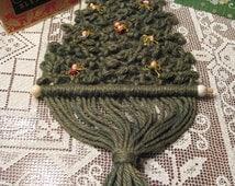 Vintage Forrest/Pine Green Macrame Christmas Tree/ Macrame Christmas Decor/ Macrame Wall Decor/ Christmas Card Holder