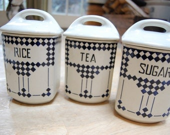 Czechoslovakia Kitchen Canisters - Vintage Ceramic Sugar Tea Rice Canisters - Blue and White Pottery